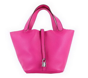 Hermes Picotin Lock MM Bags Clemence Leather H8616 Rose