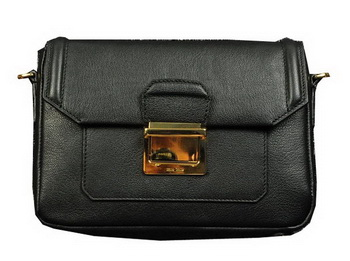 miu miu Soft Calf Leather Flap Bag RP0071 Black
