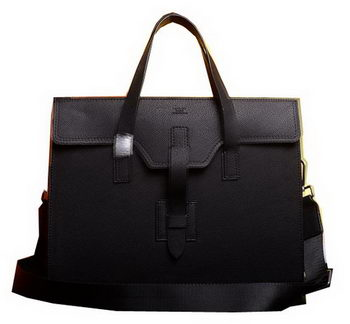 Hermes Briefcase Original Grainy Calf Leather H1120 Black