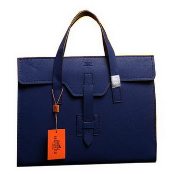 Hermes Briefcase Original Grainy Calf Leather H1120 Blue