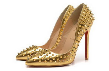 Christian Louboutin 120mm Pump Calfskin Leather CL1455 Gold