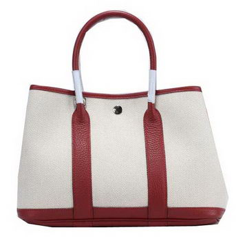 Hermes Garden Party 30cm Tote Bag Canvas Burgundy