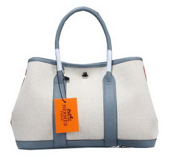 Hermes Garden Party 30cm Tote Bag Canvas SkyBlue