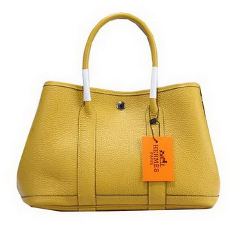 Hermes Garden Party 30cm Tote Bag Grainy Leather Yellow
