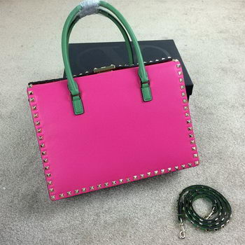 Valentino Rockstud Shopping Bag Calfskin Leather VO1933 Rose&Red&SkyBlue