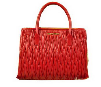 miu miu Matelasse Leather Three Pocket Bags RN0941 Red