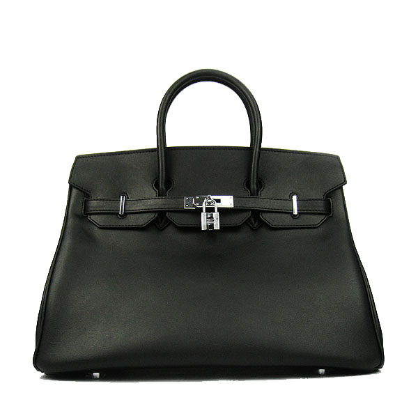 Hermes Birkin 35CM Tote Bag Black Smooth Leather H6089 Silver