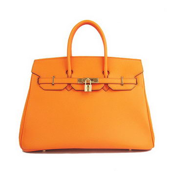 Hermes Birkin 35CM Tote Bag Orange Smooth Leather H6089 Gold