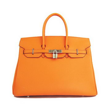 Hermes Birkin 35CM Tote Bag Orange Smooth Leather H6089 Silver