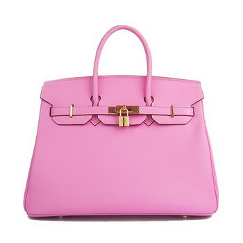 Hermes Birkin 35CM Tote Bag Pink Smooth Leather H6089 Gold