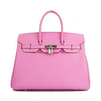 Hermes Birkin 35CM Tote Bag Pink Smooth Leather H6089 Silver