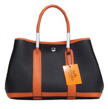Hermes Garden Party 30cm Tote Bags Grainy Leather Black&Orange