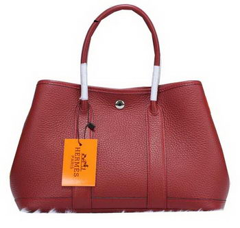 Hermes Garden Party 30cm Tote Bags Grainy Leather Burgundy