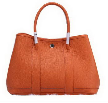 Hermes Garden Party 30cm Tote Bags Grainy Leather Orange