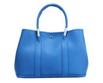 Hermes Garden Party 36cm Tote Bag Grainy Leather Blue
