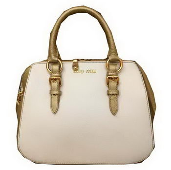 miu miu Madras Goat Leather Top-handle Bag RL0063 White&Gold