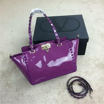 Valentino Garavani Rockstud mini Tote Bag Patent Leather VG1916 Lavender