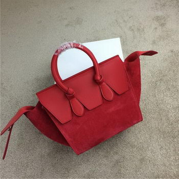 Celine Tie Nano Top Handle Bags Suede Leather C98313 Red