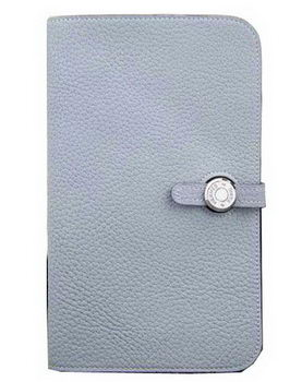 Hermes Compact Passport Holder Original Leather Wallet SkyBlue