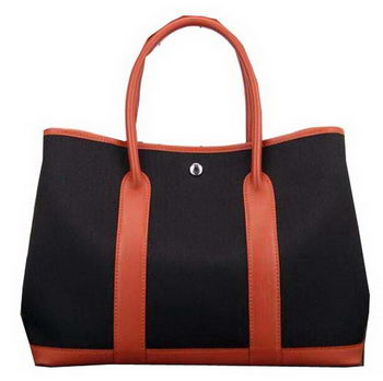 Hermes Garden Party 36cm 30cm Tote Bag Canvas Black&Orange