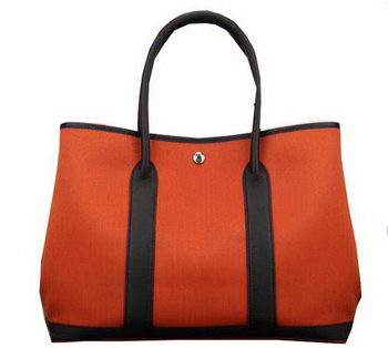 Hermes Garden Party 36cm 30cm Tote Bag Canvas Orange&Black