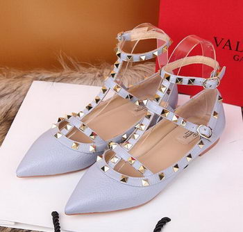 Valentino Litchi Leather Rivet Sandal VT221YZM SkyBlue