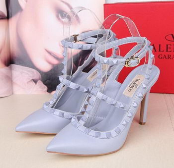 Valentino Smooth Leather Rivet 100mm Sandal VT258YZM SkyBlue