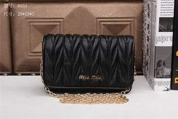 miu miu Matelasse Leather Flap Shoulder Bags BL6553 Black