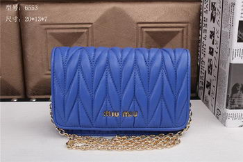 miu miu Matelasse Leather Flap Shoulder Bags BL6553 Blue