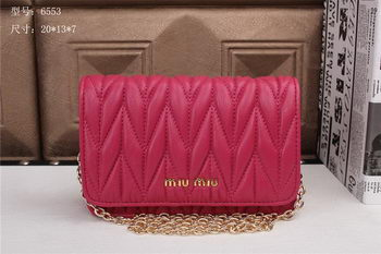 miu miu Matelasse Leather Flap Shoulder Bags BL6553 Rose