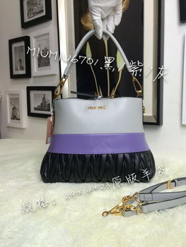 miu miu Madras Goat Leather Hobo Bag M6701 Black&Lavender&Grey