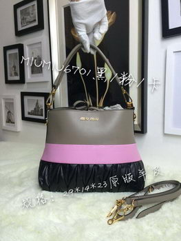 miu miu Madras Goat Leather Hobo Bag M6701 Black&Pink&Khaki
