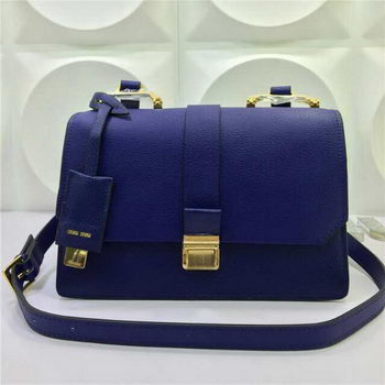 miu miu Madras Goat Leather Shoulder Bag RT0609 Blue