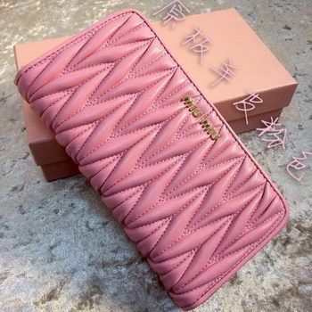 miu miu Matelasse Nappa Leather Wallet MM30150 Pink