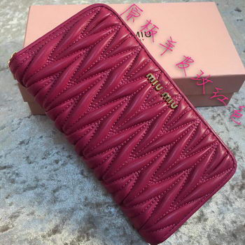 miu miu Matelasse Nappa Leather Wallet MM30150 Rose