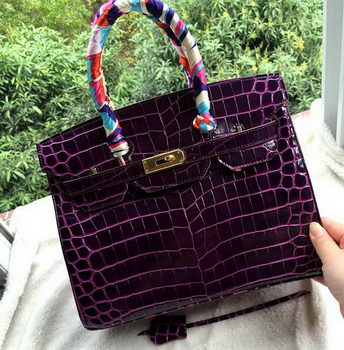 Hermes Birkin 30CM Tote Bags Croco Leather H30CO Purple