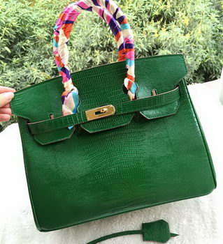 Hermes Birkin 30CM Tote Bags Lizard Leather H30LZ Green