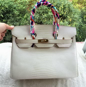 Hermes Birkin 30CM Tote Bags Lizard Leather H30LZ OffWhite