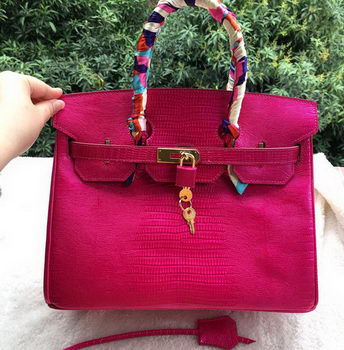 Hermes Birkin 30CM Tote Bags Lizard Leather H30LZ Rose