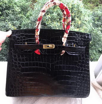 Hermes Birkin 35CM Tote Bag Croco Leather H35CO Black