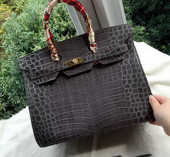Hermes Birkin 35CM Tote Bag Croco Leather H35CO Grey
