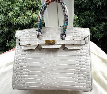 Hermes Birkin 35CM Tote Bag Croco Leather H35CO OffWhite