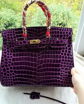 Hermes Birkin 35CM Tote Bag Croco Leather H35CO Purple