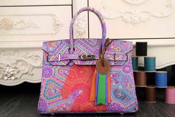 Hermes Birkin 35CM Tote Bag Painting Leather H35CO Lavender