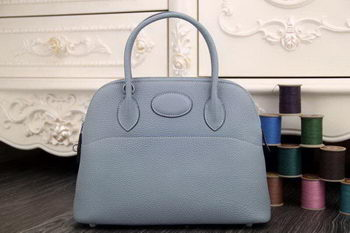 Hermes Bolide 31CM Original Leather Tote Bag SkyBlue