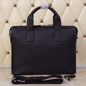 Hermes Briefcase Original Grainy Leather H8813T Black