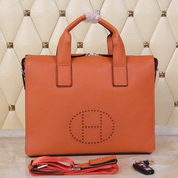 Hermes Briefcase Original Grainy Leather H8813T Orange