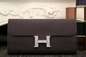 Hermes Constance Long Wallets Original Leather HA909 Brown