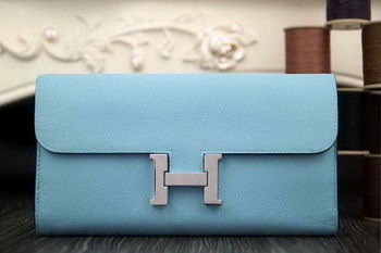 Hermes Constance Long Wallets Original Leather HA909 SkyBlue