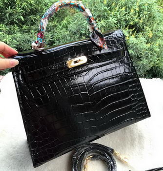 Hermes Kelly 32cm Shoulder Bag Croco Leather K32CO Black
